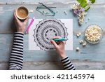 flat lay  female coloring adult ... | Shutterstock . vector #421145974
