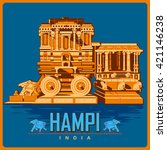 vintage poster of hampi in... | Shutterstock .eps vector #421146238