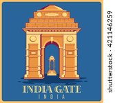 vintage poster of india gate in ... | Shutterstock .eps vector #421146259
