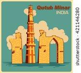 vintage poster of qutub minar... | Shutterstock .eps vector #421146280