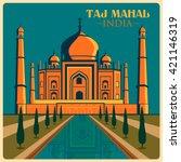 vintage poster of taj mahal in... | Shutterstock .eps vector #421146319