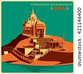vintage poster of vivekananda... | Shutterstock .eps vector #421146400