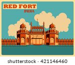vintage poster of red fort in... | Shutterstock .eps vector #421146460