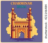 vintage poster of charminar in... | Shutterstock .eps vector #421146484