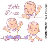 set with cute little baby  boy... | Shutterstock .eps vector #421148050