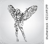 girl with an owl   Shutterstock .eps vector #421149199