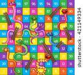 snakes and ladders board game... | Shutterstock .eps vector #421149334