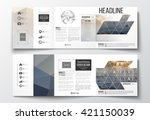 vector set of tri fold... | Shutterstock .eps vector #421150039