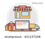 thin line flat design concept... | Shutterstock .eps vector #421157248
