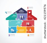 house shape  jigsaw banner .... | Shutterstock .eps vector #421159576