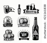 set of vector beer badges on... | Shutterstock .eps vector #421161838