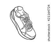 doodle contour shoes. cartoon... | Shutterstock .eps vector #421164724