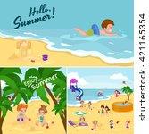 children summertime vacation...   Shutterstock .eps vector #421165354