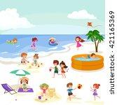 fun at summer beach. happy... | Shutterstock .eps vector #421165369