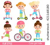 funny girl riding on scooters ... | Shutterstock .eps vector #421168180