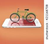 elegant vintage bicycle on... | Shutterstock . vector #421168708