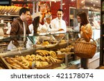 workers and customer  in... | Shutterstock . vector #421178074