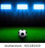 soccer ball on green stadium ...   Shutterstock . vector #421181410
