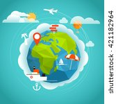summer seaside vacation concept.... | Shutterstock .eps vector #421182964