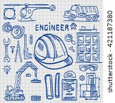 sketch icons engineer drawing... | Shutterstock .eps vector #421187380