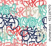 graffiti background seamless... | Shutterstock .eps vector #421187470