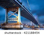 ben franklin bridge above... | Shutterstock . vector #421188454