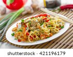 plate of traditional asian food.... | Shutterstock . vector #421196179