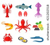 seafood  vector flat  icons set....