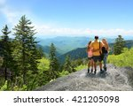 family hiking on vacation ... | Shutterstock . vector #421205098