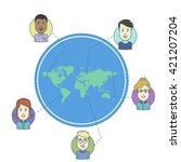 set of social people on world... | Shutterstock .eps vector #421207204