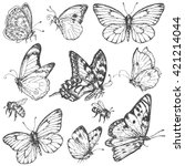 Stock vector hand drawn set of doodle insects monochrome image of flying and sitting butterflies and bees 421214044