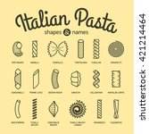 italian pasta  shapes and names ... | Shutterstock .eps vector #421214464