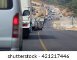 traffic jam on the road because ... | Shutterstock . vector #421217446