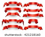 realistic red glossy vector... | Shutterstock .eps vector #421218160