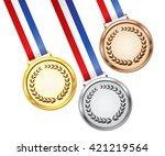 gold  silver and bronze award... | Shutterstock .eps vector #421219564