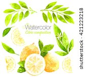 lemons set.watercolor lemon... | Shutterstock . vector #421223218