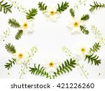 fresh narcissus flowers leaves... | Shutterstock . vector #421226260