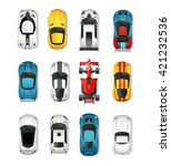 sport and racing cars top view... | Shutterstock .eps vector #421232536