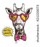 Hipster Giraffe Portrait In...