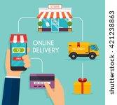 concept online shopping and e... | Shutterstock .eps vector #421238863
