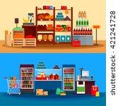interior of supermarket banners ... | Shutterstock .eps vector #421241728