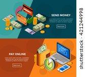 two horizontal  bank service... | Shutterstock .eps vector #421244998
