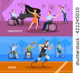 disabled people practicing... | Shutterstock .eps vector #421245010