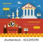museum banner set with museum... | Shutterstock .eps vector #421245190