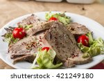 boiled beef tongue   dil sogus  ... | Shutterstock . vector #421249180