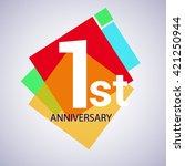 1st years anniversary logo ... | Shutterstock .eps vector #421250944