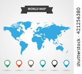 blue map of the world  with... | Shutterstock . vector #421256380
