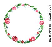 watercolor floral wreath. frame ... | Shutterstock . vector #421257904