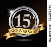 15th anniversary logo  with... | Shutterstock .eps vector #421258960