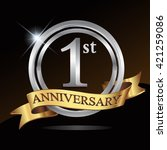 1st anniversary logo  with... | Shutterstock .eps vector #421259086